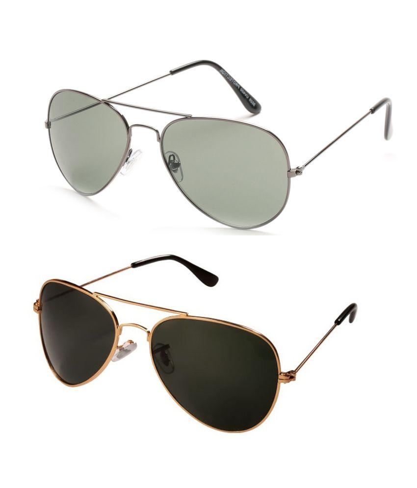 Prime Club Golden-Black & Grey Aviator Sunglasses Combo