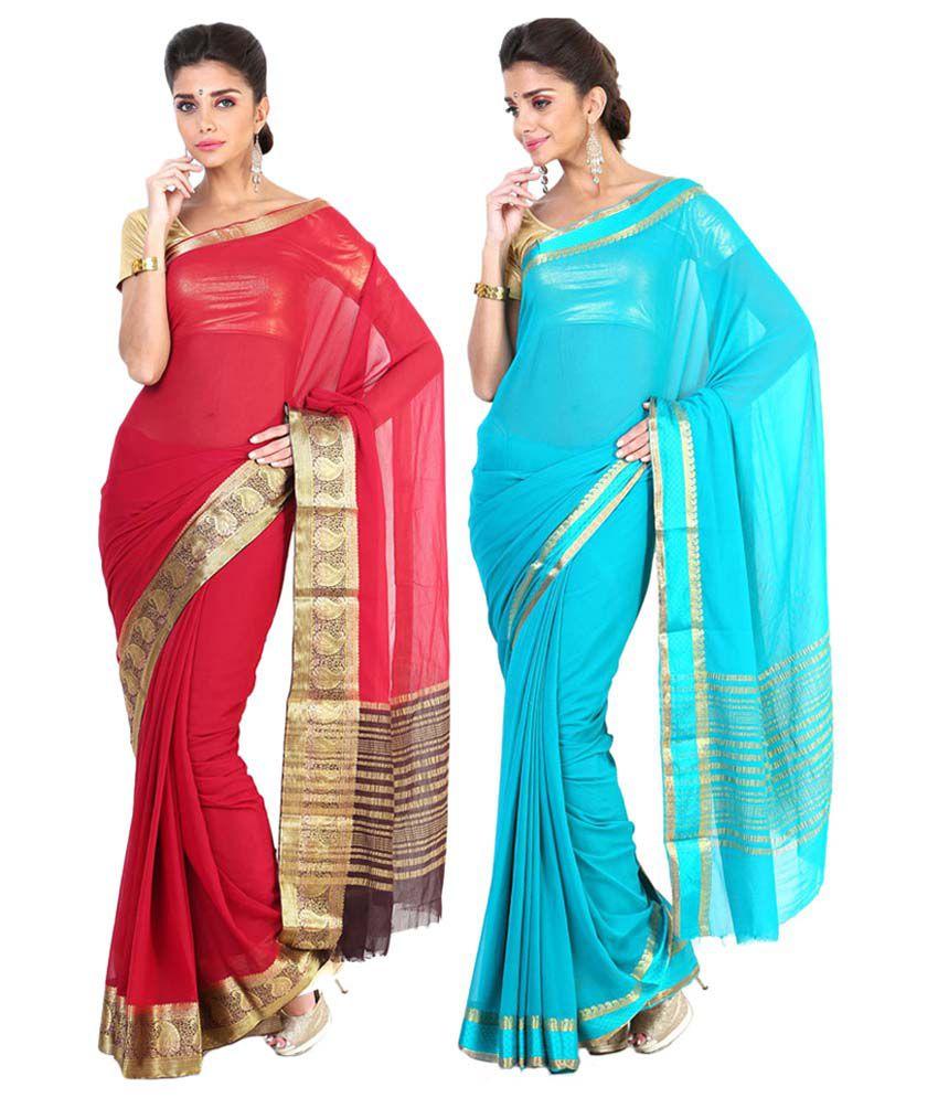 Sudarshan Silks Blue & Pink Semi Chiffon Pack of 2