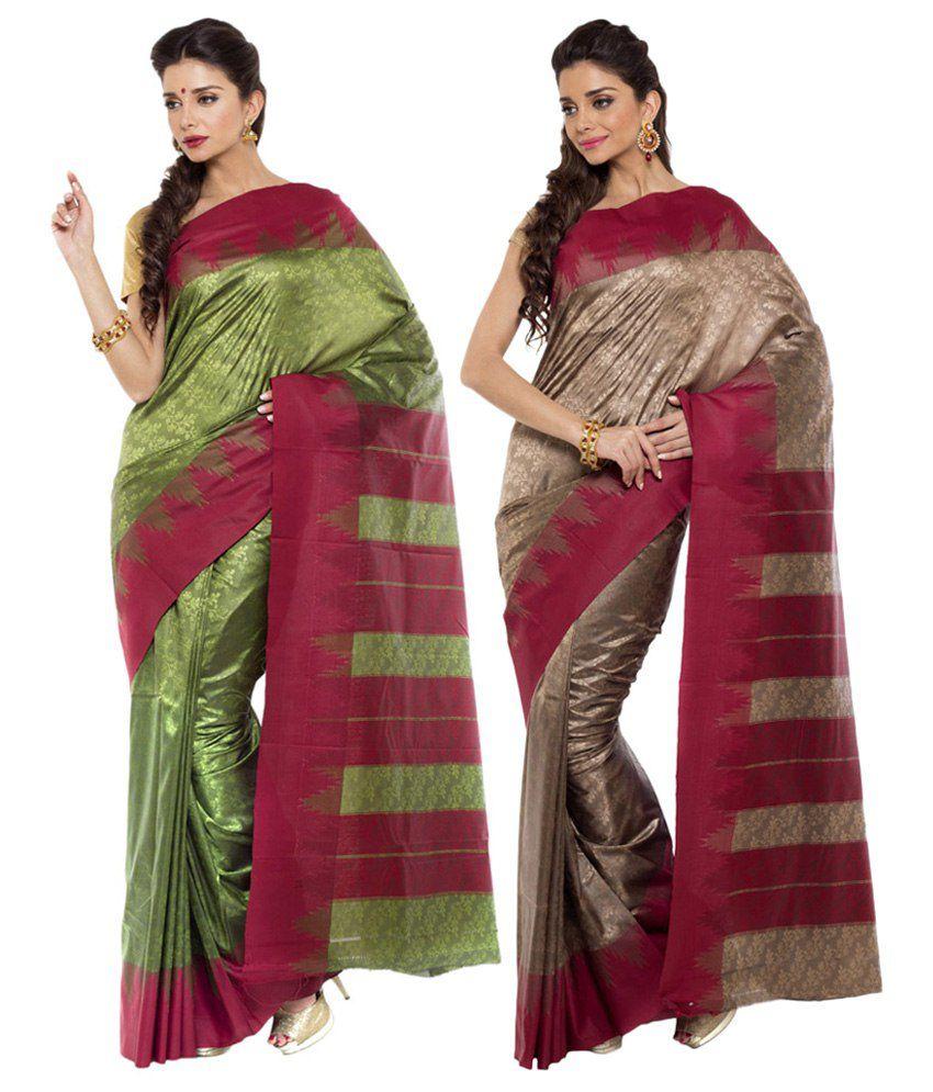 Sudarshan Silks Brown and Green Ar Silk Pack of 2