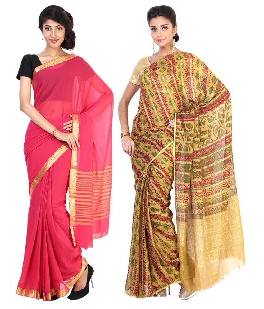 Sudarshan Silks Multicolour & Pink Semi Chiffon Pack of 2
