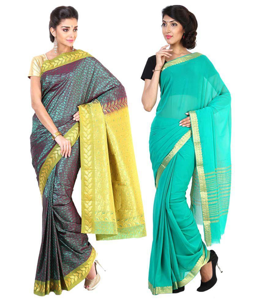 Sudarshan Silks Turquoise & Green Semi Chiffon Pack of 2