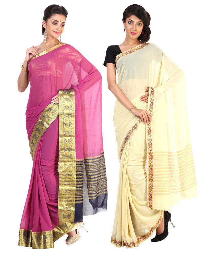 Sudarshan Silks Yellow & Pink Semi Chiffon Pack of 2
