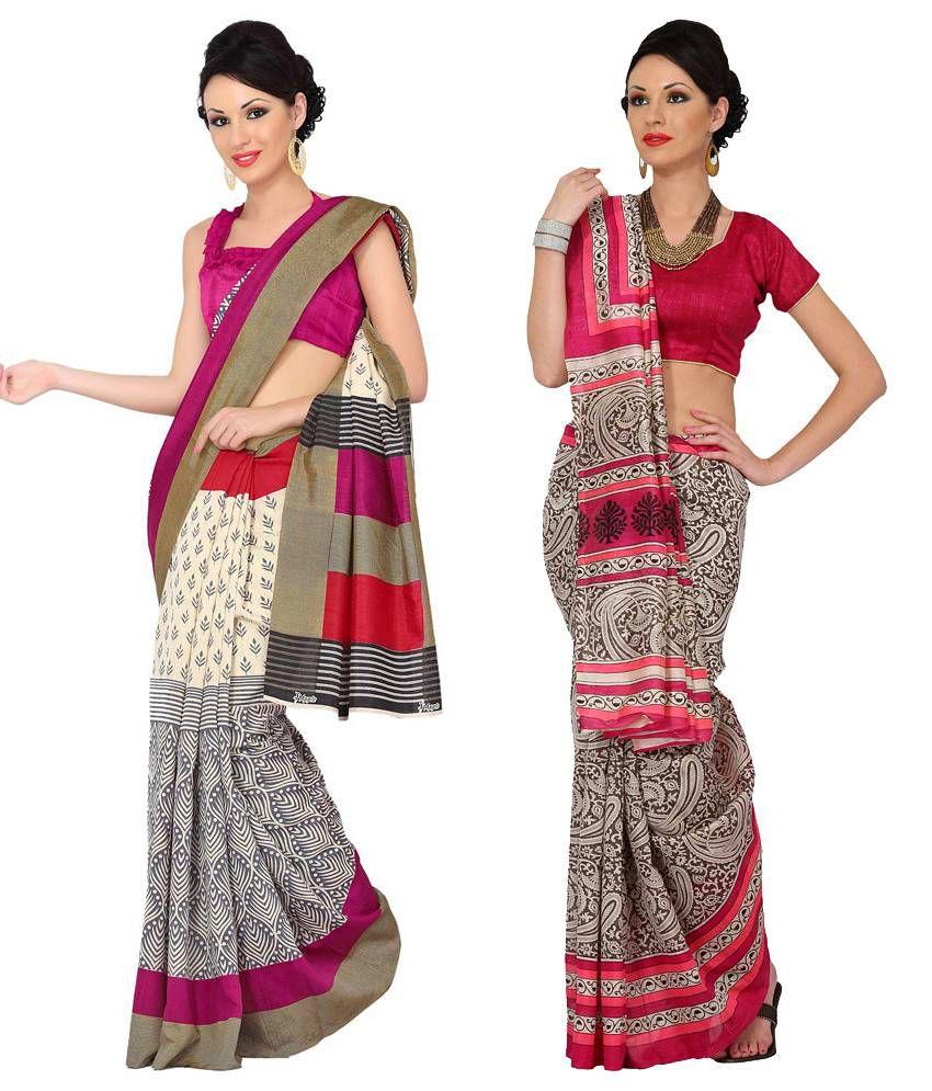 Womantra Pink & Beige Bhagalpuri Silk Pack of 2
