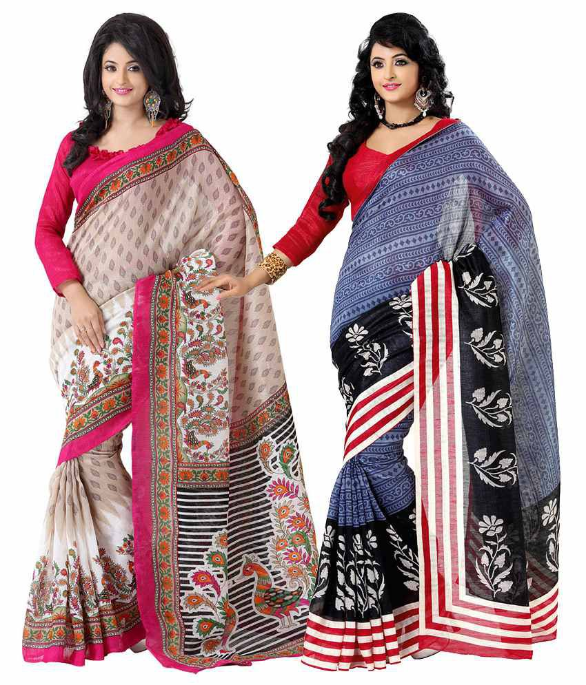 Womantra Red & Pink Bhagalpuri Silk Pack of 2