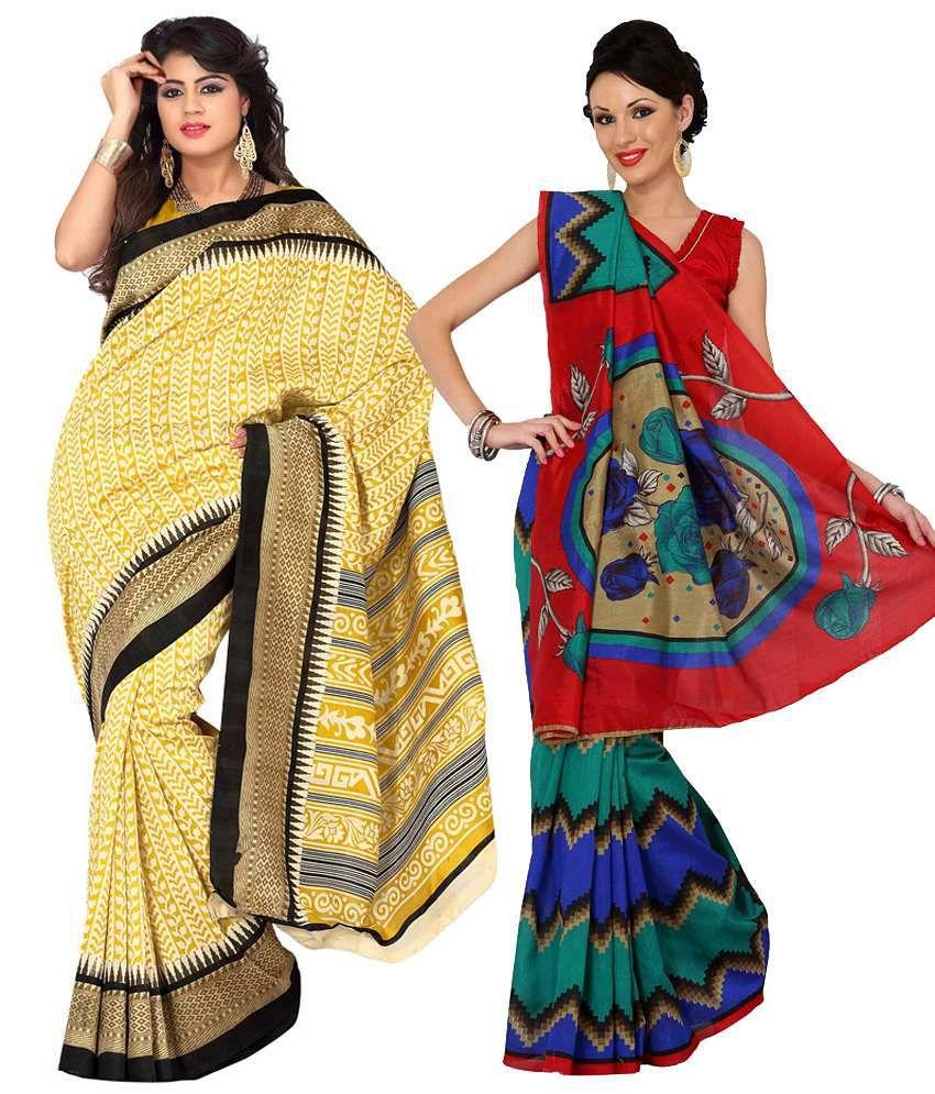 Womantra Yellow & Red Bhagalpuri Silk Pack of 2