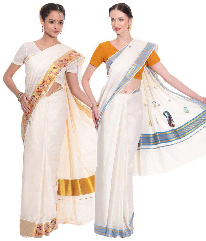 Fashion Kiosks Pack of 2 Cream Kerala Kasavu Cotton Sarees with Matching Blouse Pieces