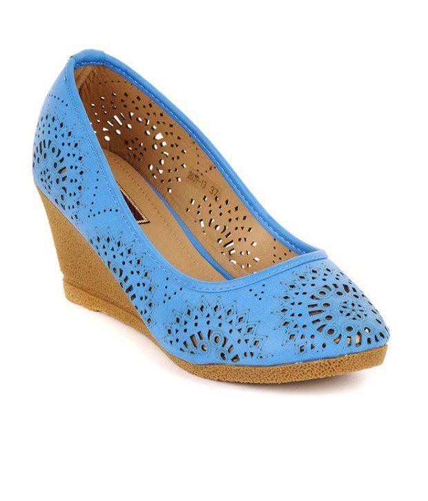Flat n Heels Blue Heeled Slip On