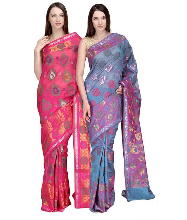 Shad Brothers Multicolour Silk Banarsi Saree Pack of 2