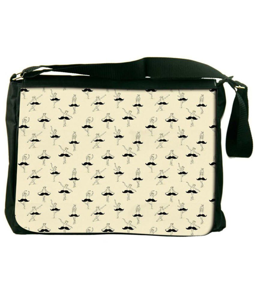 Snoogg Beige and Black Laptop Messenger Bag Beige and Black Messenger Bag