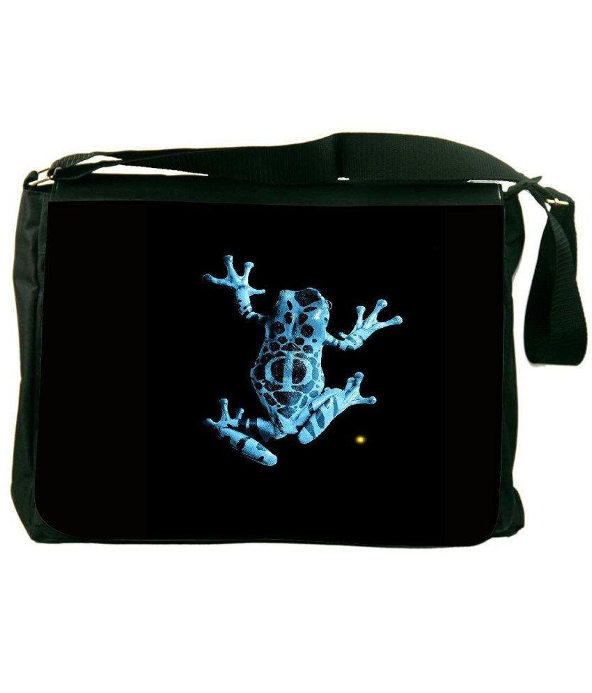 Snoogg Black and Blue Laptop Messenger Bag Black and Blue Messenger Bag