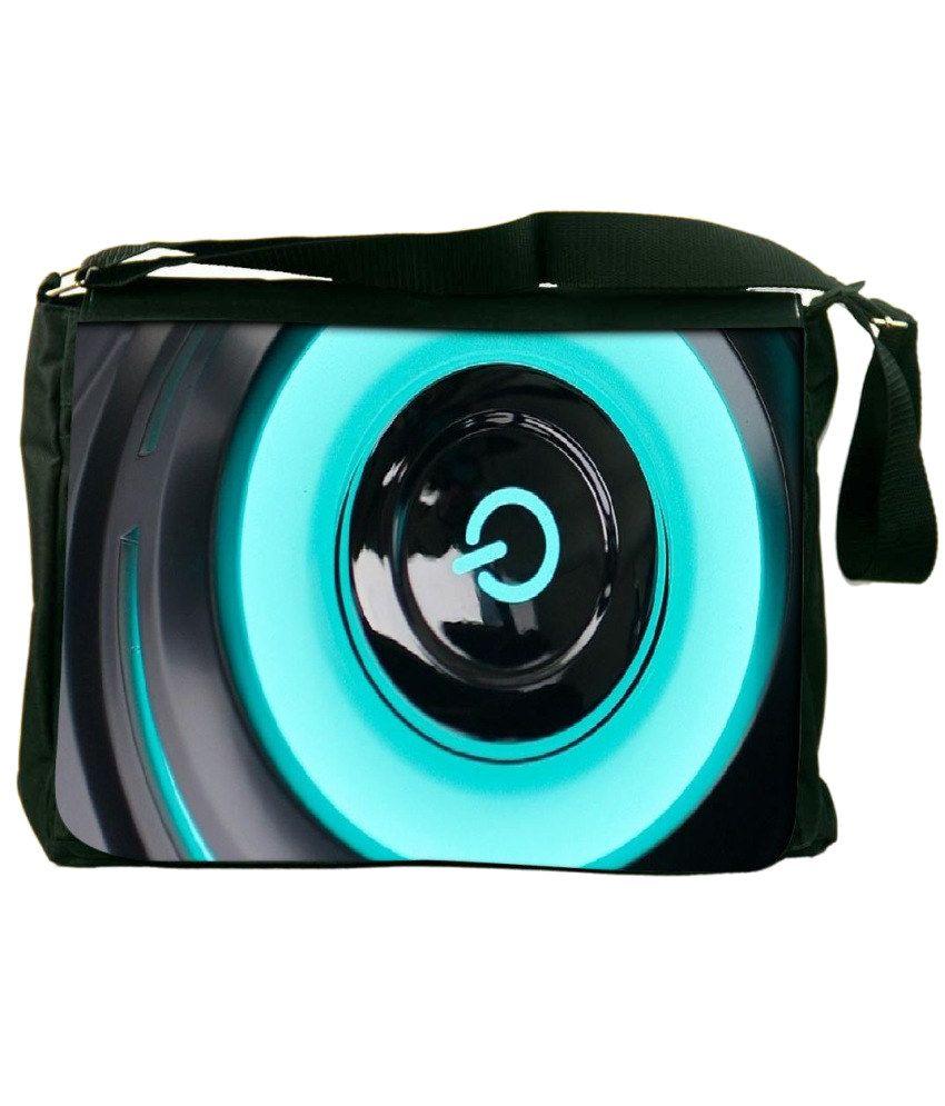 Snoogg Blue and Black Laptop Messenger Bag Blue and Black Messenger Bag