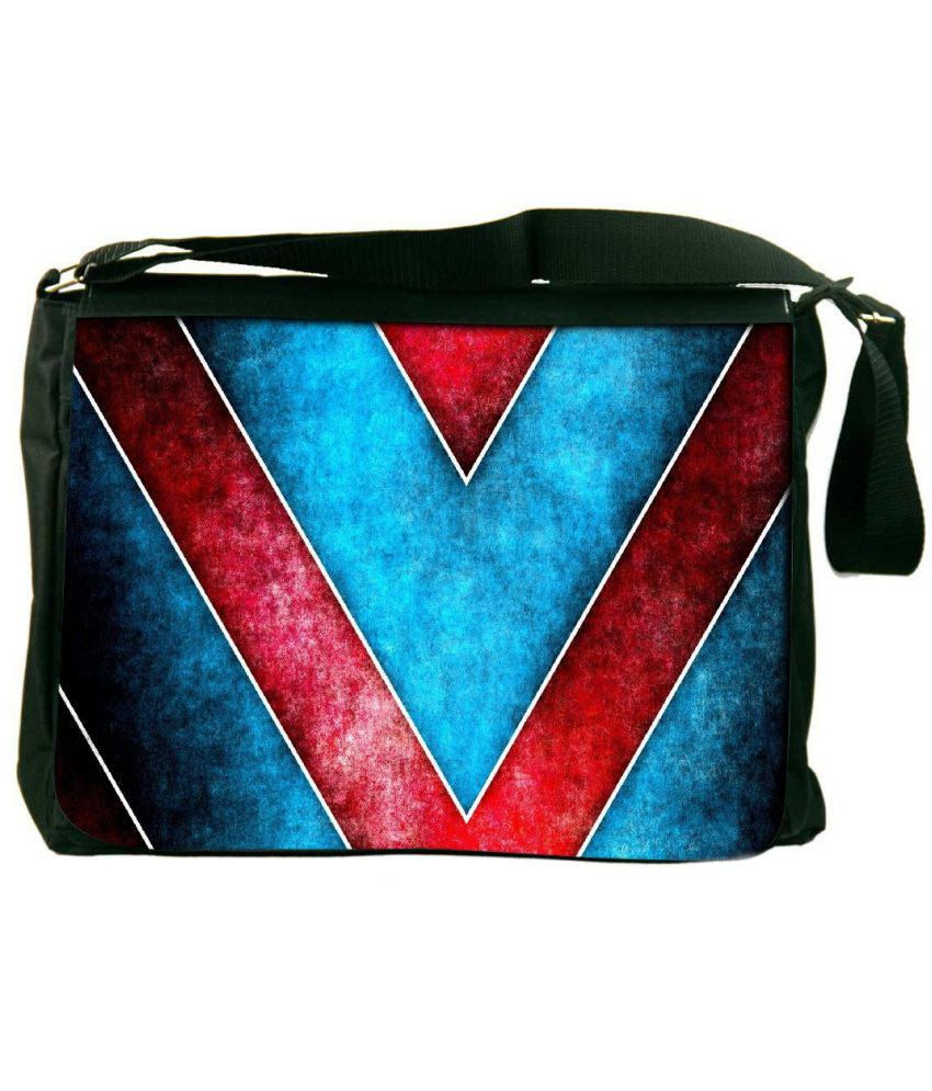Snoogg Blue and Red Laptop Messenger Bag Blue and Red Messenger Bag