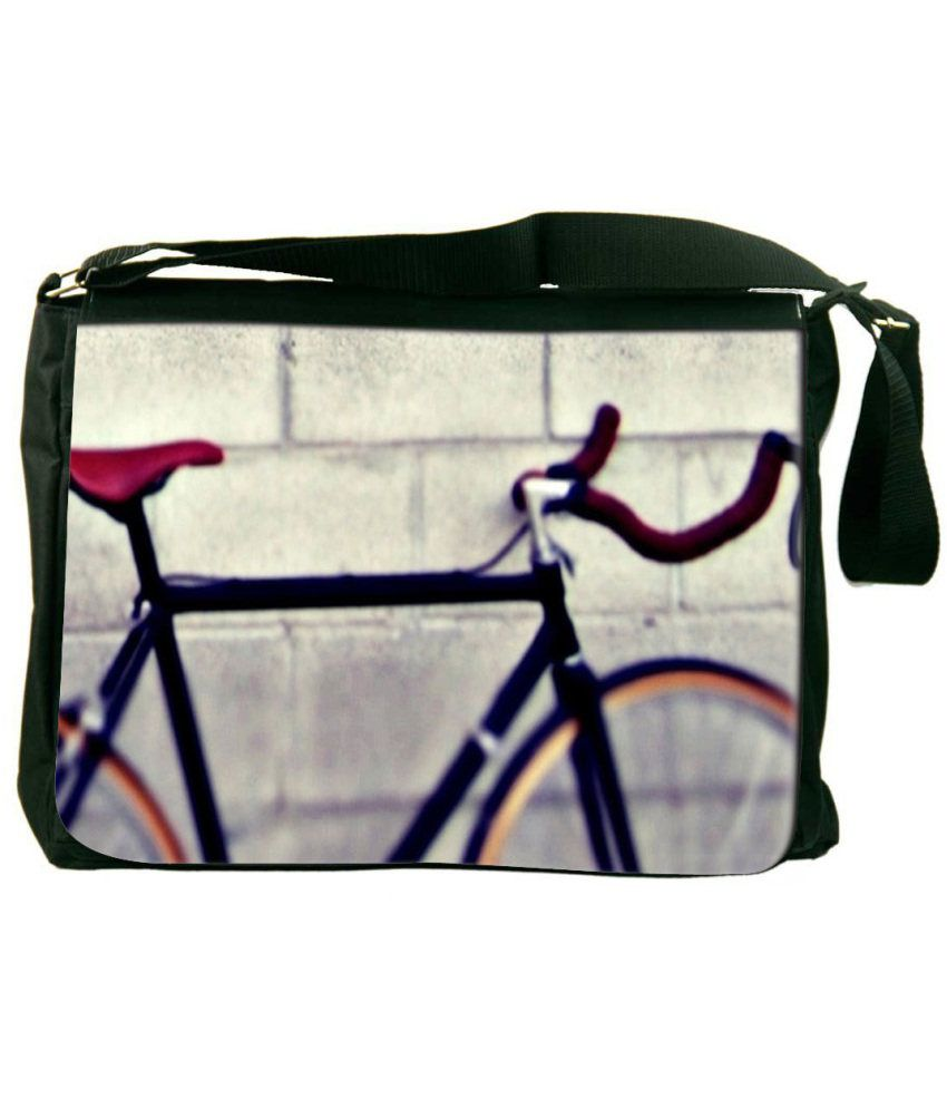 Snoogg Gray and Black Laptop Messenger Bag Gray and Black Messenger Bag