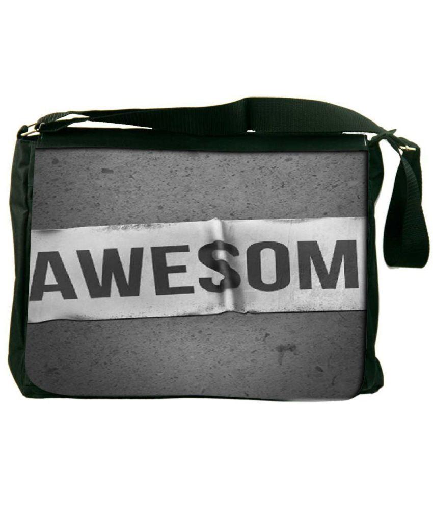Snoogg Gray and Black Laptop Messenger Bag Gray and Black Messenger Bag