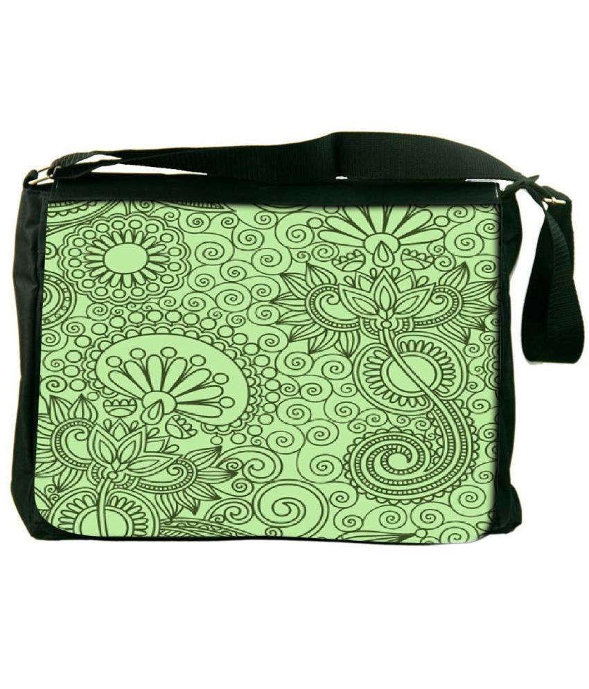 Snoogg Green Laptop Messenger Bag Green Messenger Bag