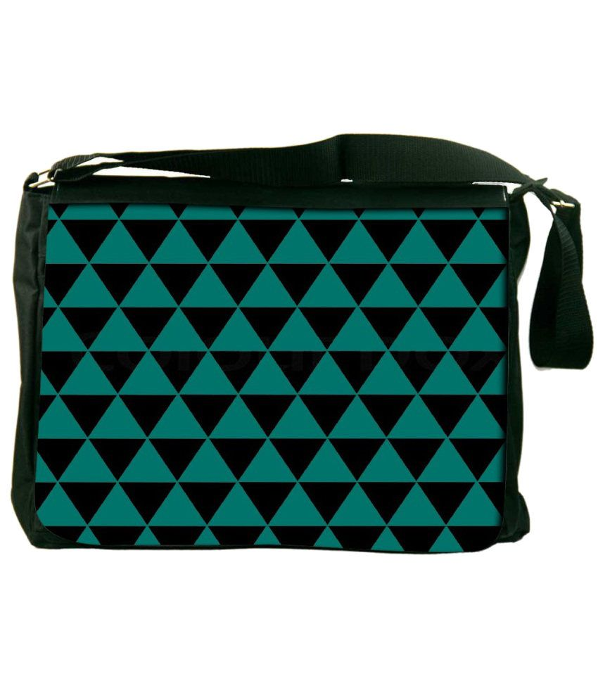 Snoogg Green and Black Laptop Messenger Bag Green and Black Messenger Bag
