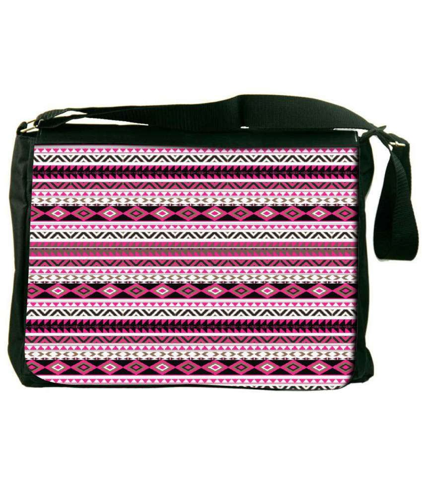 Snoogg Pink and Black Laptop Messenger Bag Pink and Black Messenger Bag