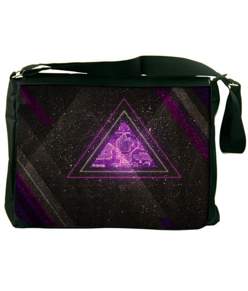 Snoogg Purple and Black Laptop Messenger Bag Purple and Black Messenger Bag