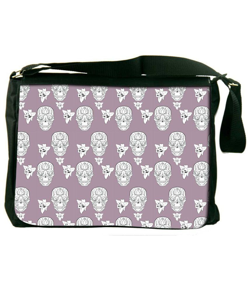 Snoogg Purple and White Laptop Messenger Bag Purple and White Messenger Bag