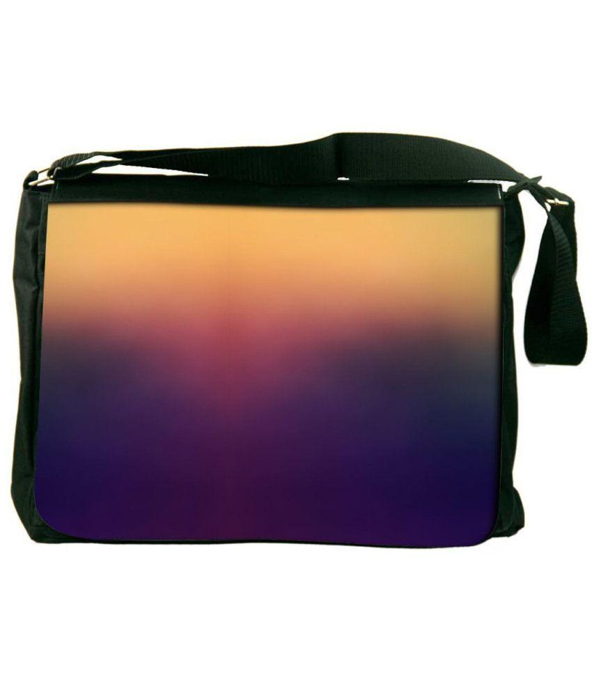 Snoogg Purple and Yellow Laptop Messenger Bag Purple and Yellow Messenger Bag