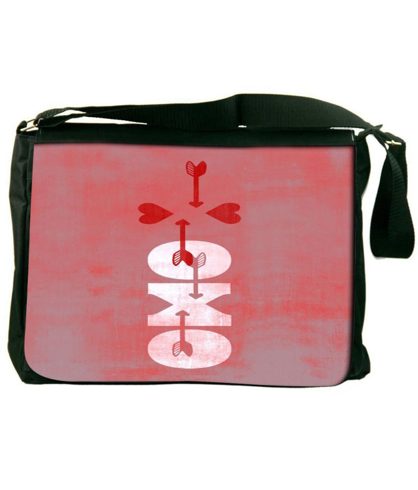 Snoogg Red and White Laptop Messenger Bag Red and White Messenger Bag