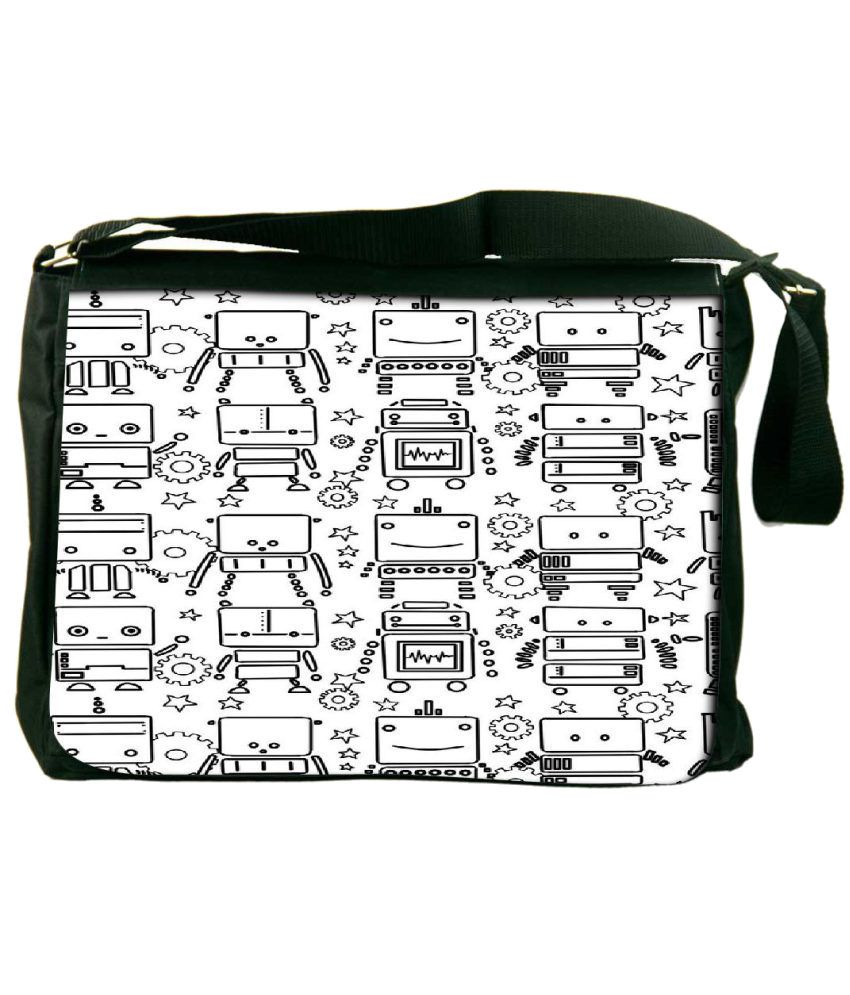 Snoogg White and Black Laptop Messenger Bag White and Black Messenger Bag