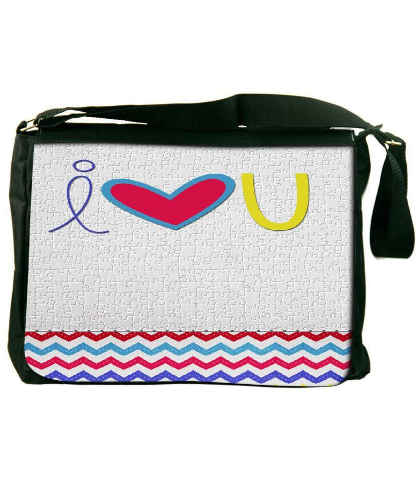 Snoogg White and Red Laptop Messenger Bag White and Red Messenger Bag