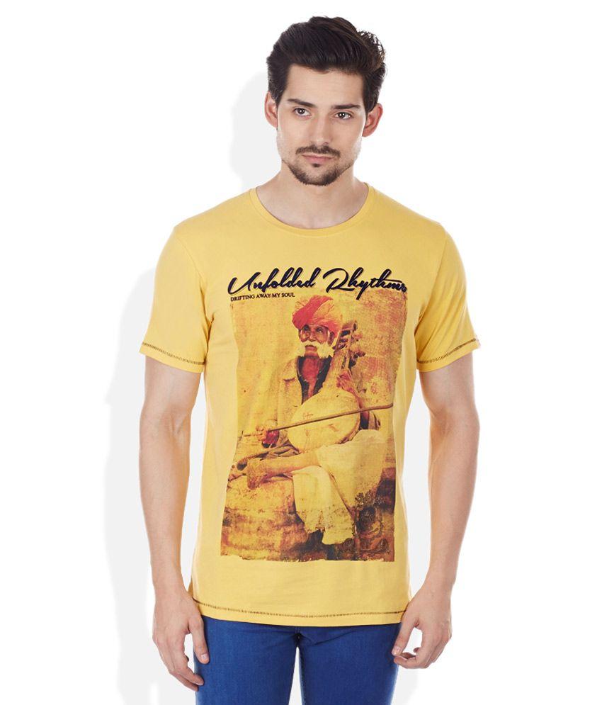 Spykar Yellow Round Neck T-Shirt