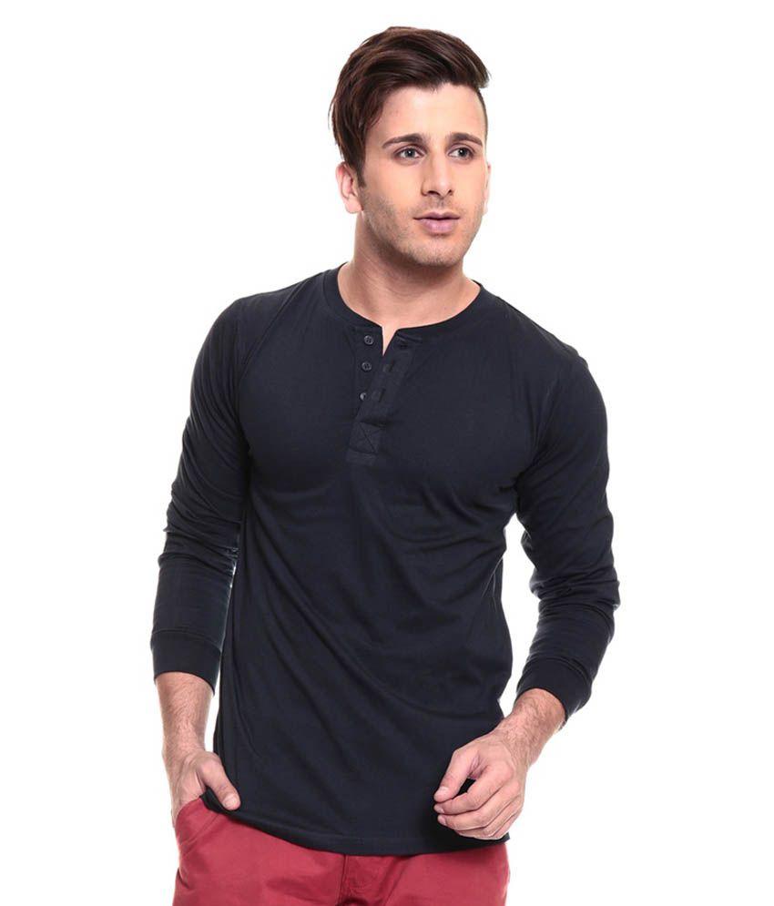 Ansh Fashion Wear Navy Cotton Henley T-shirt