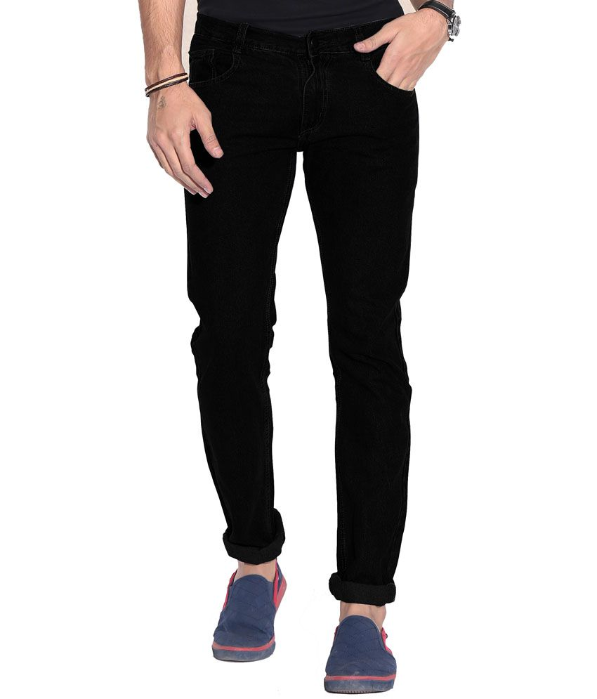 Fizzaro Black Cotton Straight Fit Mid Rise Jeans