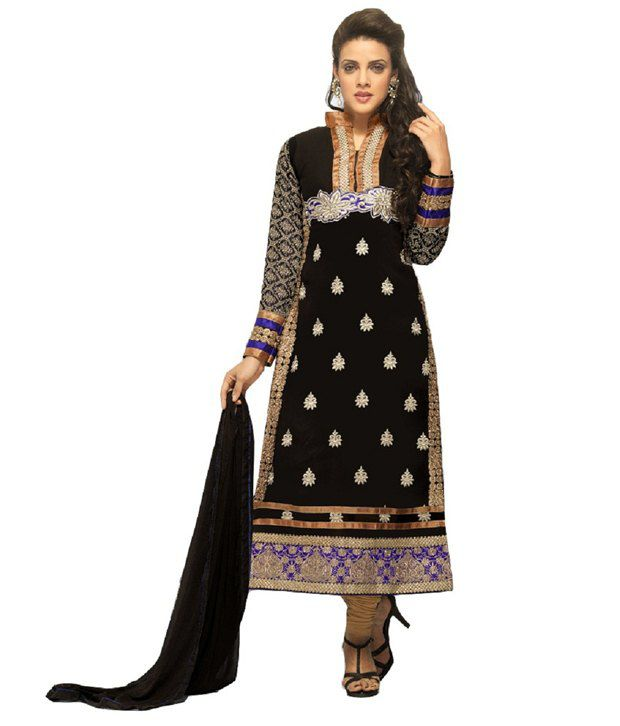 Navya Black Faux Georgette Unstitched Dress Material
