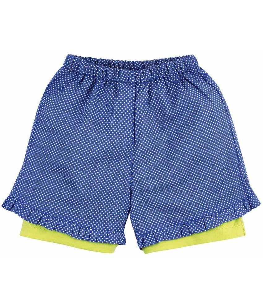 Oye Fashionable Blue & White Cotton Shorts for Girls