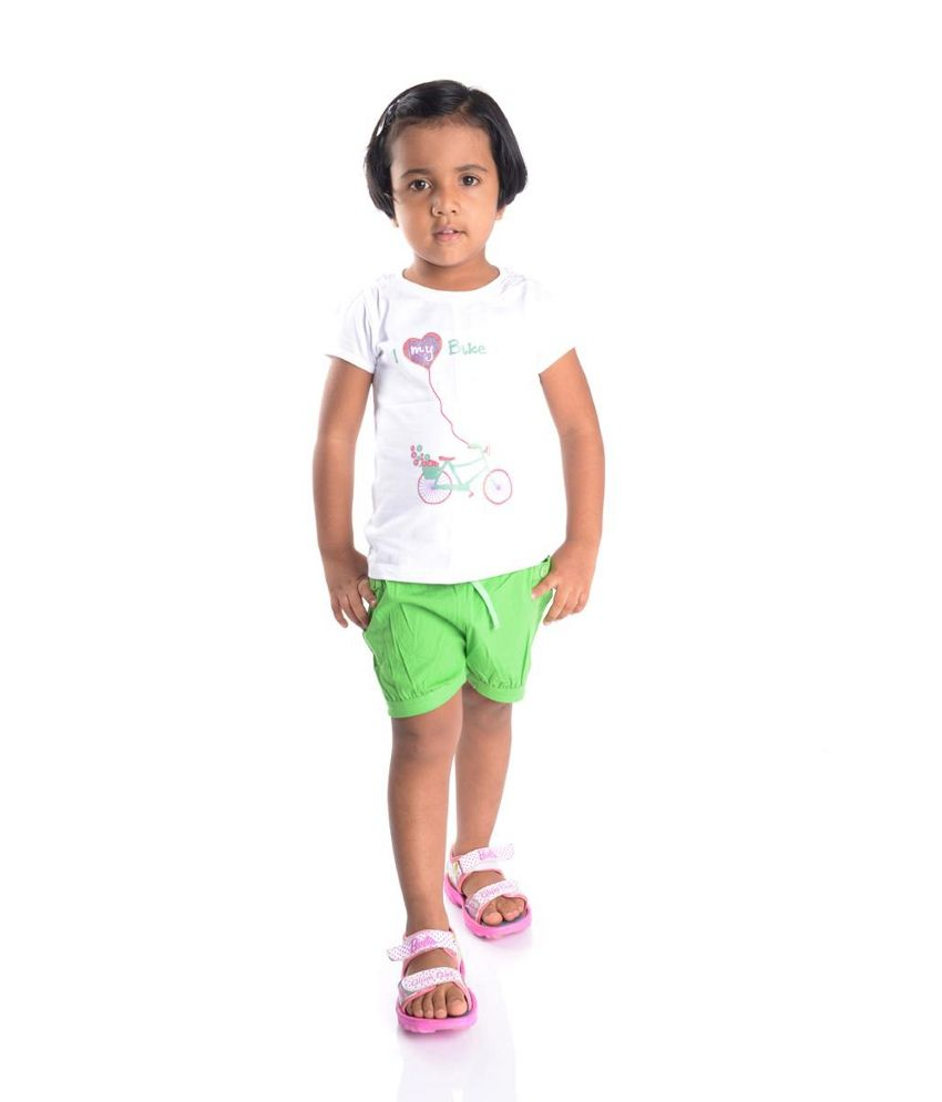 Oye Green Cotton Shorts for Girls