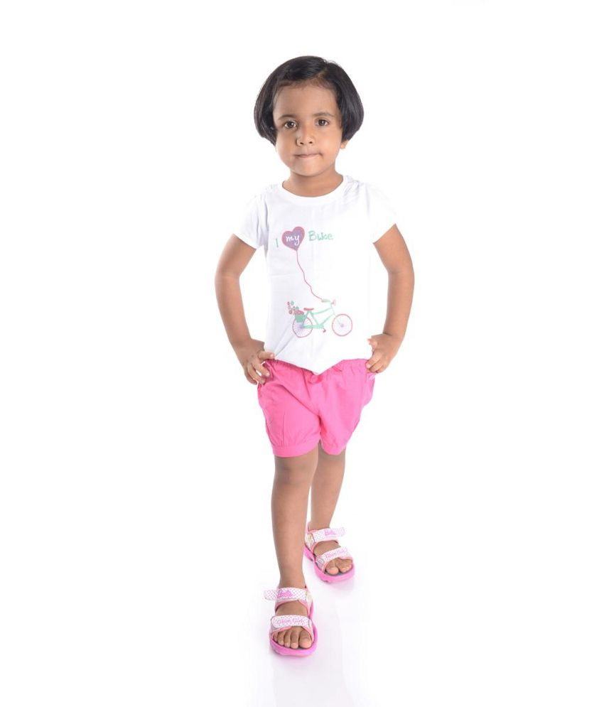 Oye Pink Cotton Shorts for Girls