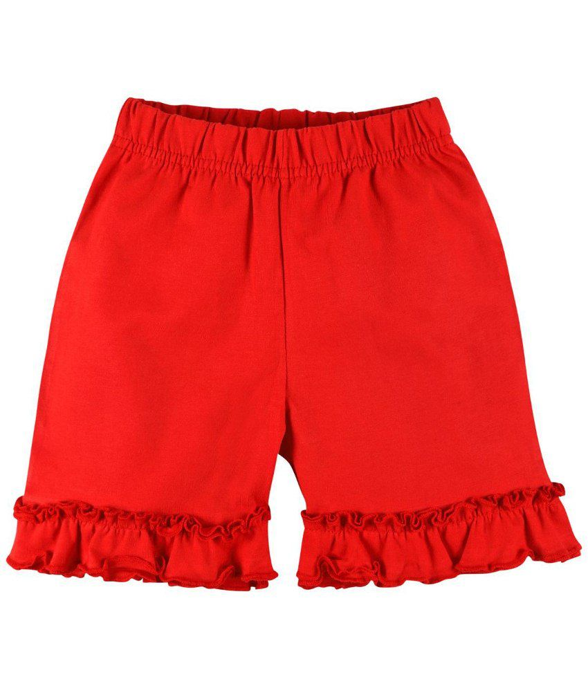 Oye Red Cotton Shorts for Girls
