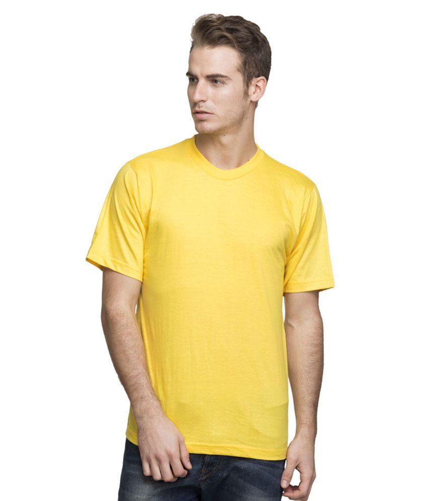 Rocketkaart Yellow Cotton Round Neck Half Sleeves T - Shirt