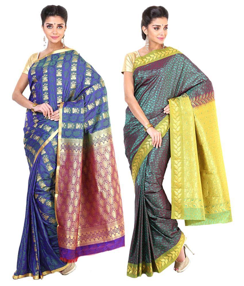 Sudarshan Silks Multicolour & Purple Semi Chiffon Saree (Pack of 2)