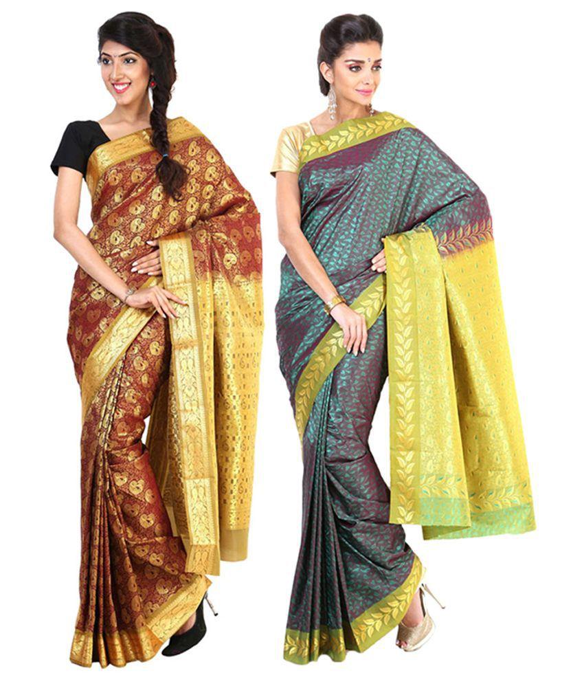 Sudarshan Silks Multicolour Semi Chiffon Saree (Pack of 2)