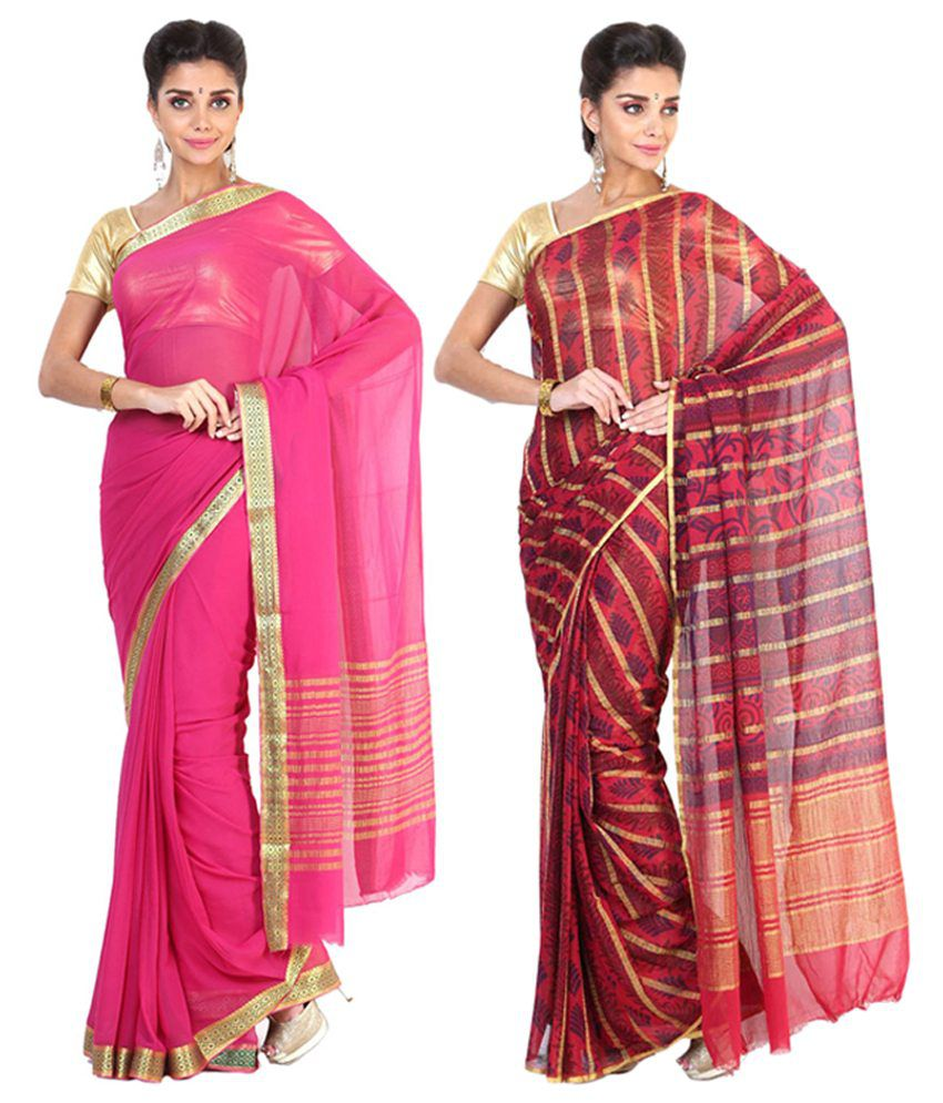 Sudarshan Silks Pink & Red Semi Chiffon Saree (Pack of 2)