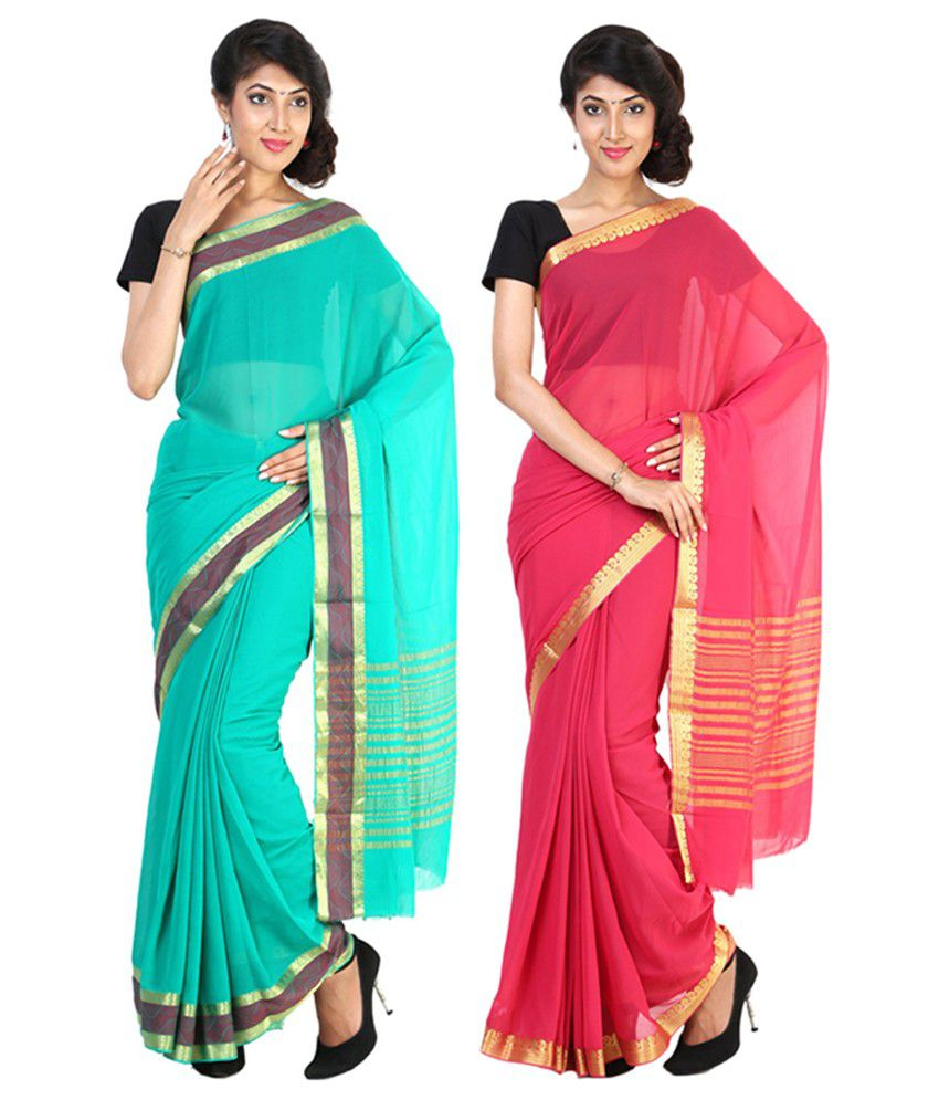 Sudarshan Silks Pink & Turquoise Semi Chiffon Saree (Pack of 2)