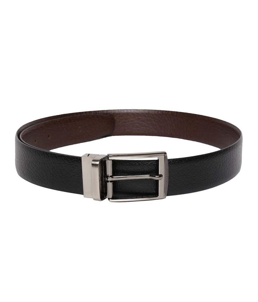 Tasset Black/Brown Leather Pin Buckle Reversible Formal Belt For Men