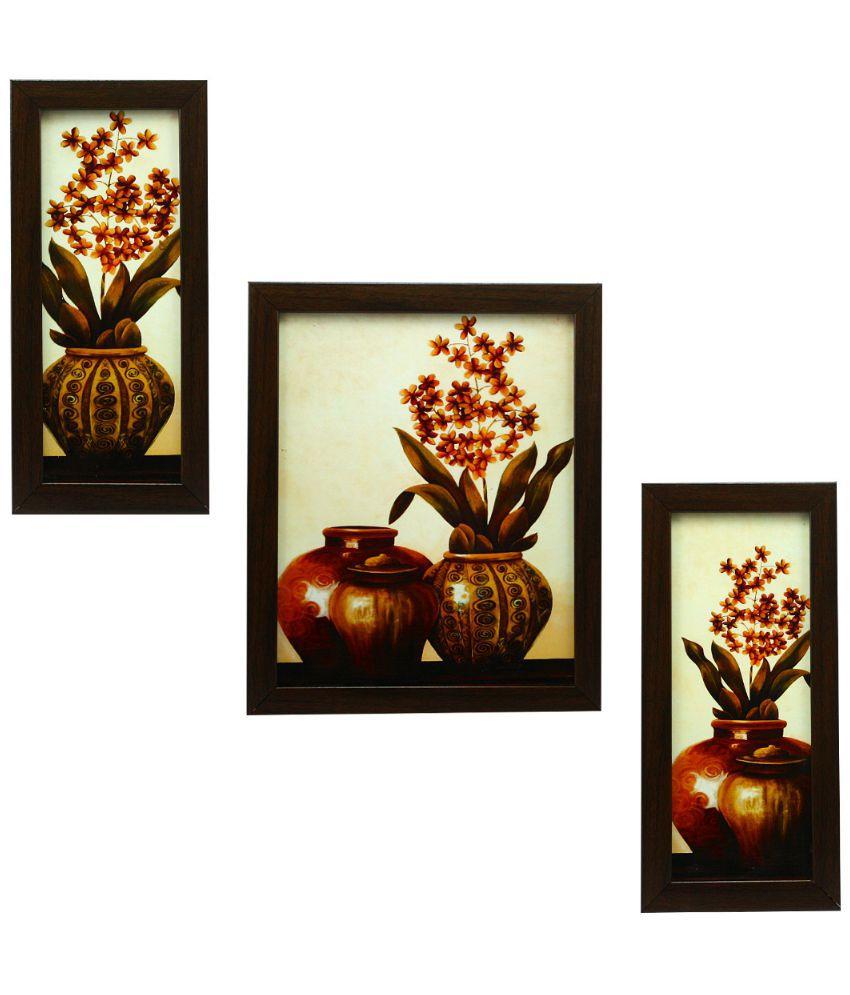 Indianara Matte Wooden Frame 3 Piece Set Of Framed Wall Hanging