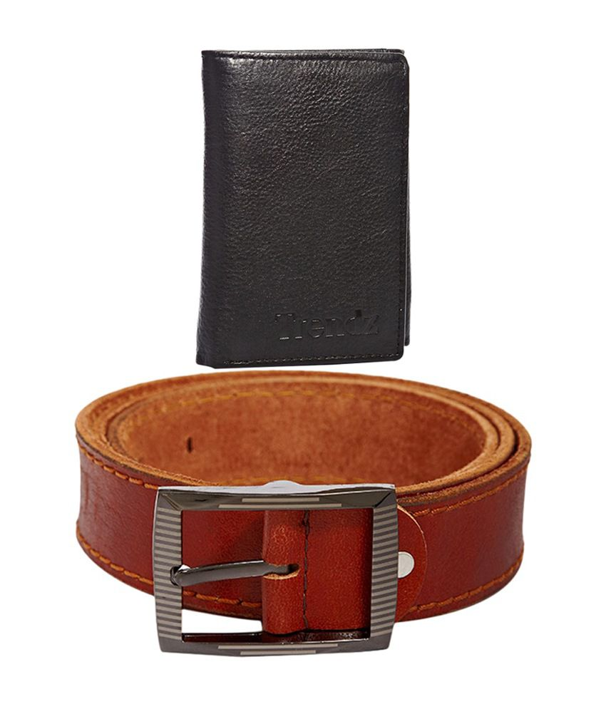 Trendz Tan Genuine Leather Belt & Black Wallet (Pack of 2)