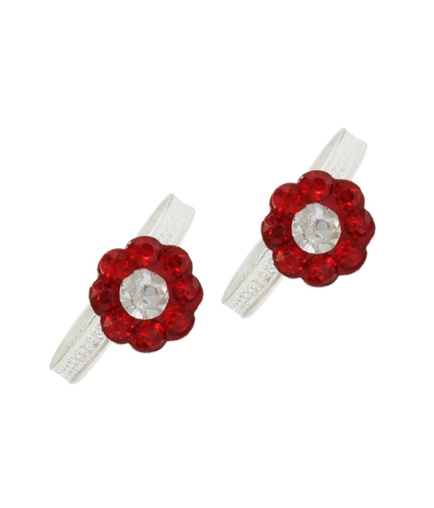 Pehchan Red Rajasthan Silver Toe-rings