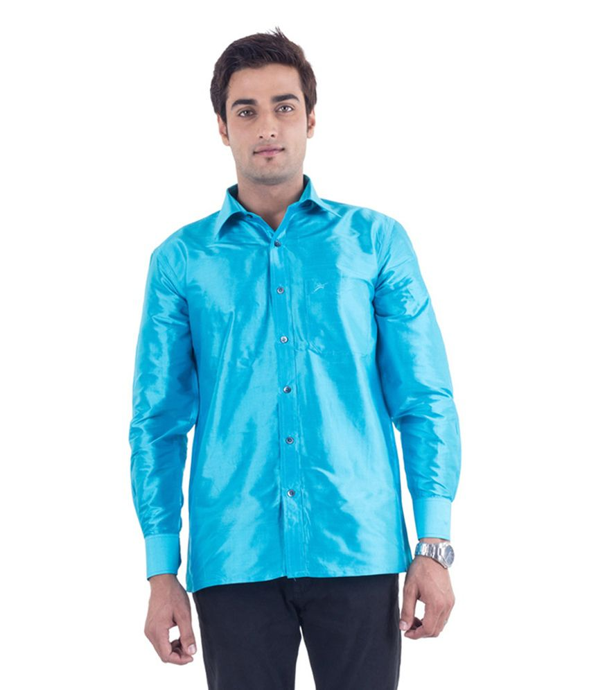 Scot Wilson Blue Silk Partywear Shirt