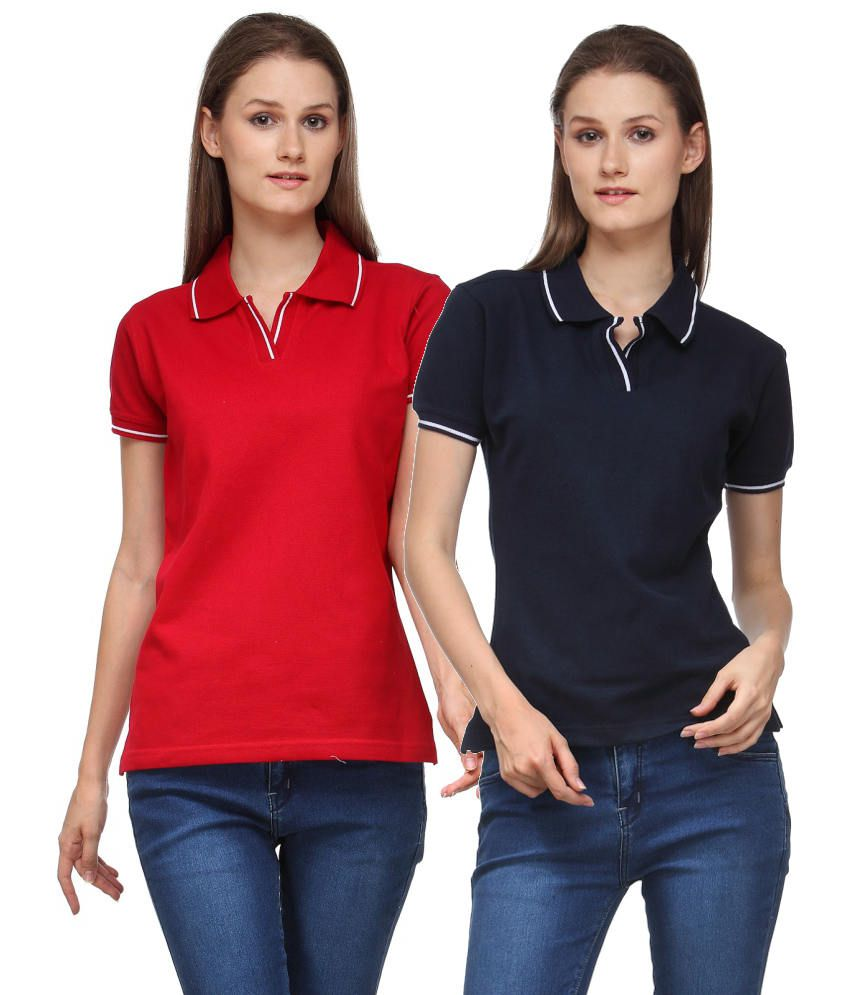 Scott International Combo of Red and Black Cotton Blend Polo T-shirts (Set of 2)