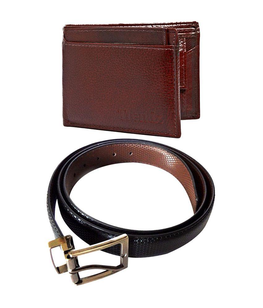 Trendz Reversible Black Formal Belt & Brown Leather Wallet (Pack of 2)