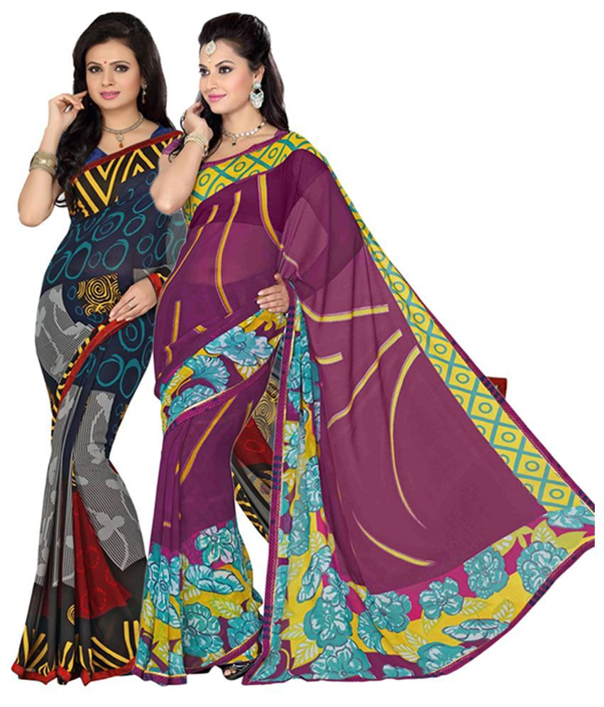 Vritika Multicolour & Purple Art Silk Saree with Blouse (Pack of 2)