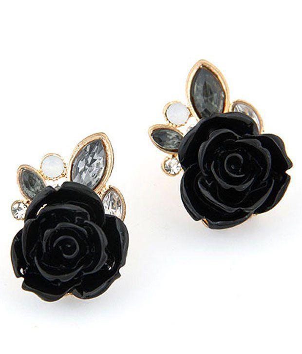Cinderella Fashion Jewelry  Black & Golden Crystal Stud Earrings