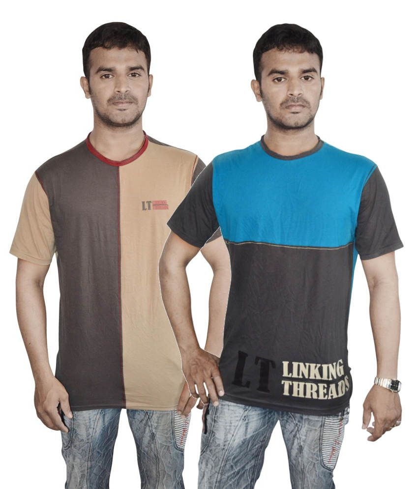Linking Threads Brown and Black Cotton T-shirts (Combo of 2)